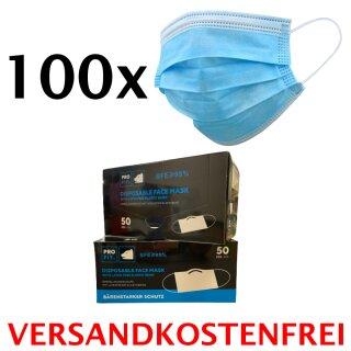 100 Stück Medizinischer Mund- & Nasenschutz, EN 14683 Typ I